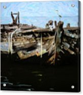 Old Wooden Fishing Boat Acrylic Print