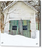 Old Wooden Garage In The Snow Woodstock Vermont Acrylic Print