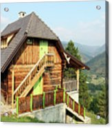Old Wooden House On Mountain Landscape Acrylic Print