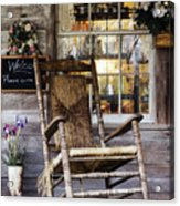 Old Wooden Rocking Chair On A Wooden Porch Acrylic Print by Jeremy Woodhouse