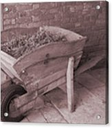 Old Wooden Wheelbarrow Acrylic Print