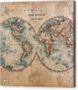 Old World Map In Hemispheres Acrylic Print