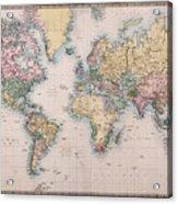 Old World Map On Mercators Projection Acrylic Print