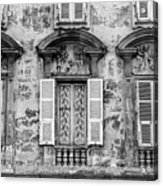 Old Yellow Building With Lace Curtain In Nice, France, Black And Acrylic Print