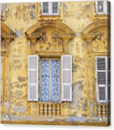 Old Yellow Building With Lace Curtain In Nice, France Acrylic Print