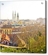 Old Zagreb Panorama In Morning Fog Acrylic Print