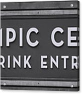 Olympic Center 1932 Rink Entrance - Monochrome Acrylic Print
