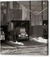 Olyphant Pa Coal Breaker Loading Trucks And Gondola Car Winter 1971 Acrylic Print