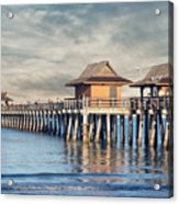On A Cloudy Day At Naples Pier Acrylic Print