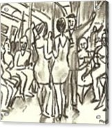 On The A, New York City Subway Drawing Acrylic Print