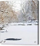 On The Bank Of A Snow Cover Stream Acrylic Print