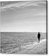 On The Beach - Malahide, Dublin - Black And White Street Photography Acrylic Print