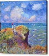 On The Bluff At Pourville - Sur Les Traces De Monet Acrylic Print