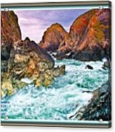 On The Coast Of Cornwall L A With Decorative Ornate Printed Frame. Acrylic Print