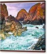On The Coast Of Cornwall L B With Decorative Ornate Printed Frame. Acrylic Print