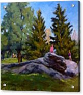 On The Rocks In Central Park Acrylic Print