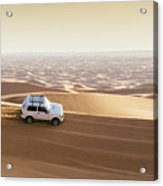 One 4x4 Vehicle Off-roading In The Red Sand Dunes Of Dubai Emirates, United Arab Emirates Acrylic Print