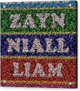 One Direction Names Bottle Cap Mosaic Acrylic Print