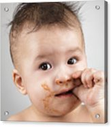 One Messy Baby Boy Sucking His Thumb Acrylic Print