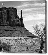 One Mitten Of Monument Valley Arizona - Black And White Acrylic Print
