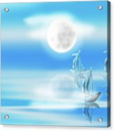 One Moon Light Sea Acrylic Print