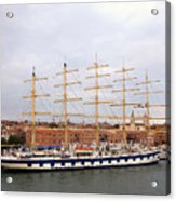 One Of Star Clipper's Masted Cruise Liners Docked In Venice Italy Acrylic Print