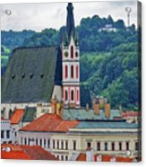 One Of The Churches In Cesky Kumlov In The Czech Republic Acrylic Print