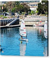 One-person Sailboats By The Commercial Pier In Monterey-california Acrylic Print