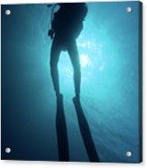 One Scuba Diver Underwater Acrylic Print