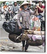 One Woman Street Life Hanoi Acrylic Print