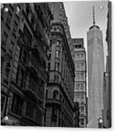 One World Trade Center New York Ny From Nassau Street Black And White Acrylic Print