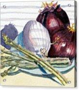 Onions And Asparagus - Miniature Acrylic Print