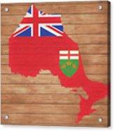 Ontario Rustic Map On Wood Acrylic Print