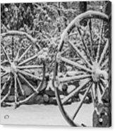 Oo Wagon Wheels Black And White Acrylic Print