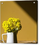 Good Morning Sunshine- Rapeseed Flowers And White Mug   Acrylic Print