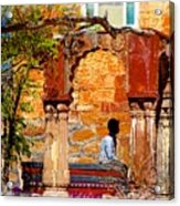 Open Air Bed Among The Arches India Rajasthan 1a Acrylic Print