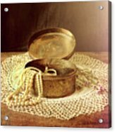 Open Jewelry Box With Pearls Acrylic Print