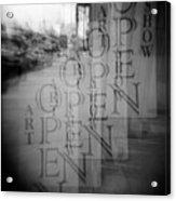 Open Sign Quadruple Multiple Exposure Holga Photography Acrylic Print