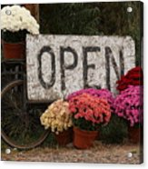 Open Sign With Flowers Fine Art Photo Acrylic Print