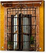Open Window In Ochre Acrylic Print