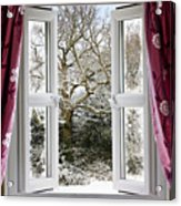 Open Window With Winter Scene Acrylic Print
