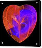 Orange And Blue Fractal Heart Acrylic Print
