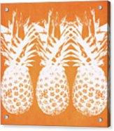 Orange And White Pineapples- Art By Linda Woods Acrylic Print