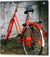 Orange Bicycle In The Street Acrylic Print