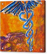 Orange Blue Purple Medical Caduceus Thats Atmospheric And Rising With Mystery Acrylic Print