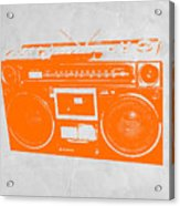 Orange Boombox Acrylic Print by Naxart Studio