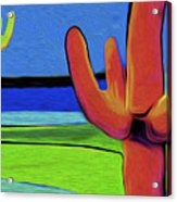 Orange Cactus By Nixo Acrylic Print