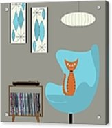 Orange Cat In Turquoise Egg Chair Acrylic Print