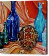 Orange Cloth Blue Bottles Acrylic Print