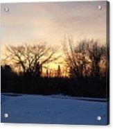 Orange Dawn Sky Behind Trees Acrylic Print